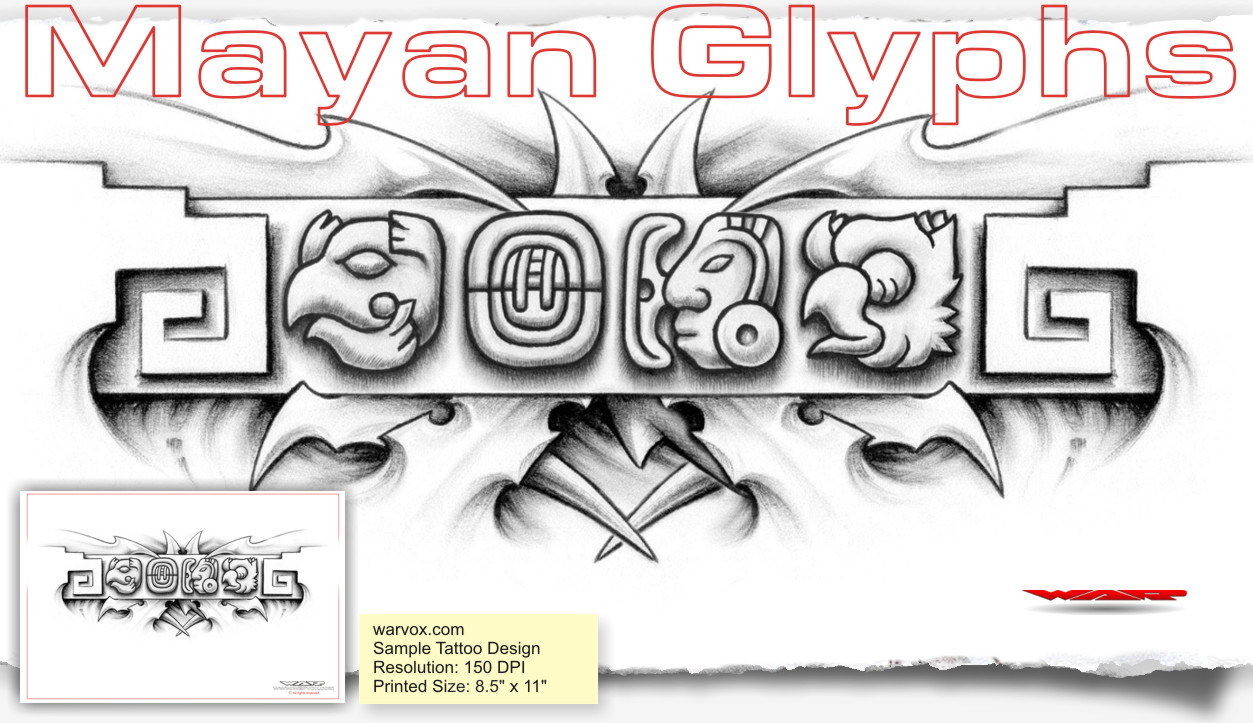 Love mayan glyphs tattoo design d aztec tattoos aztec mayan perfect for taking to a tattoo artist to tattoo as is to change the color to whatever you wish or re size the design and customize it in any way you like biocorpaavc