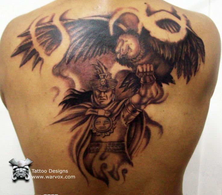 prehispanic warrior with condor aztec tattoos aztec mayan inca tattoo designs instant download. Black Bedroom Furniture Sets. Home Design Ideas