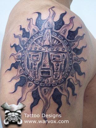 tribal sun tattoo aztec tattoos aztec mayan inca tattoo designs instant download. Black Bedroom Furniture Sets. Home Design Ideas